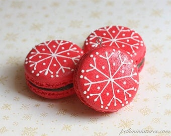 Christmas Tree Ornament- Red Macaron Snowflake Design - Handmade Christmas Ornaments- Made To Order