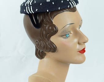 Vintage 1950s Hat Navy Blue Straw with White Beading