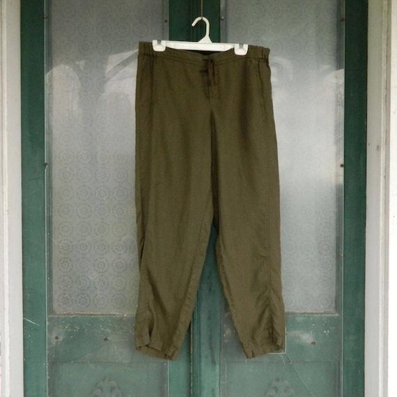 J. Jill Straight Seam Pants -L- Army Green Linen