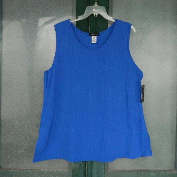 Yushi Bubble Tank Royal Blue Textured Cotton/Poly/Spandex NWT Various Sizes Available