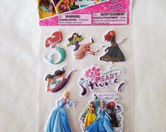 Disney Princess Stickers, Puffed, Dimensional
