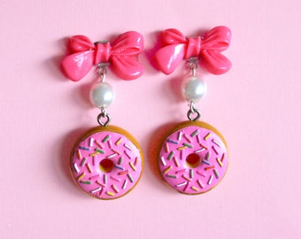 Donut Earrings, Kitsch Pink Doughnut and Bow Earrings, Chocolate, Kawaii Jewelry, Pinup, Rockabilly