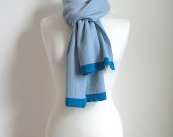 Knitted Cashmere Scarf - Pale Blue - Soft, Winter, Cosy, luxury