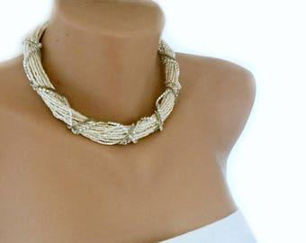Multi Strand Choker, Glass Seed Beads Necklace, Bridal Jewelry