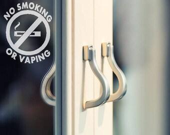 No Smoking, No Vaping, Door Sign No Smoking Stickers Office Door Decal Sign Entrance signs, Business window decals (Set of 10 Decals) 3x4