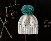 Custom for Marge | Knit Baby Pom Pom Hat | Snow White Brown Teal | Baby Boy | Baby Girl |