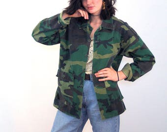 80s Woodland Camo Jacket XL, Vintage Camo Coat, Grunge Commando Coat, M81 Camouflage Jacket, BDU Woodland Jacket, 1980s Army Surplus Jacket