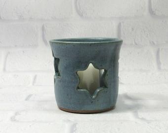 Hanukkah Candle Holder, Hanukkah Decor, Pencil Holder, Ceramic Pencil Holder, Pottery Sponge Holder, Candle Holder, Blue Flower Vase