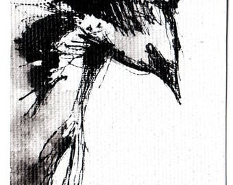 Mini ink painting on canvas 3,5x2,5in art card - abstract bird  crow art