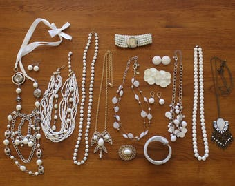 White Jewelry Lot, Jewelry Lot, Mixed Jewelry Lot, Jewelry Jars, Necklace, Bracelets, Estate Jewelry Finds, Clearance Jewelry, Repair