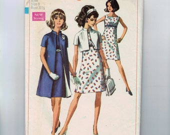1960s Vintage Sewing Pattern Simplicity 8064 Misses Size 8 A Line Dress and Jacket Sundress Bolero Size 8 Bust 31 1/2 1968 60s