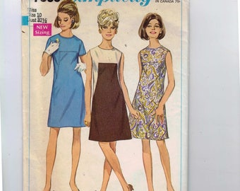 1960s Vintage Sewing Pattern Simplicity 7535 Misses Mod A Line Colorblock Dress Size 10 Bust 32 33 1966 60s