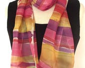 Hand Painted Silk Pongee Scarf, Stripes in Gold, Caramel, Pink, Red and Purple, 9 x 60""