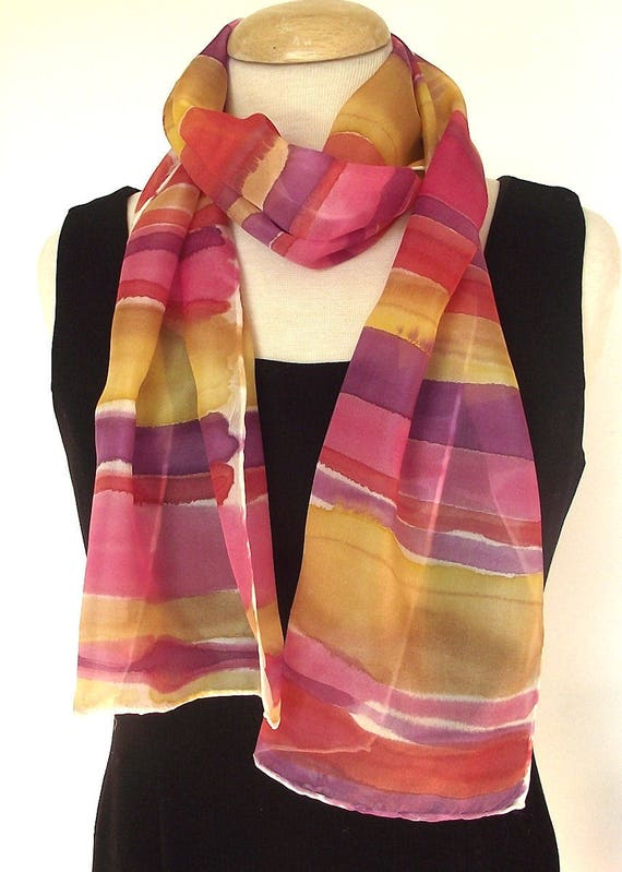 """Hand Painted Silk Pongee Scarf, Stripes in Gold, Caramel, Pink, Red and Purple, 9 x 60"""""""