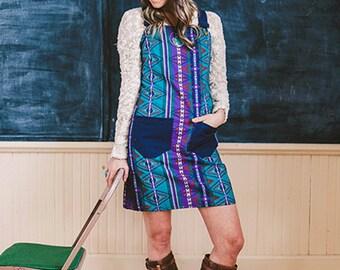 70s print Overall dress, retro Jumper, vintage jumper, Tribal Jumper, Womens Romper, Jumper Dress