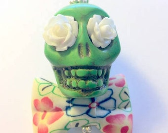Big Green Sugar Skull Day of the Dead Pendant or Ornament Floral Bow Tie and White Roses