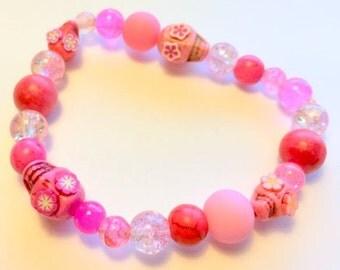 Pink Skull Bracelet Day of the Dead Sugar Skull Stretchy Bracelet