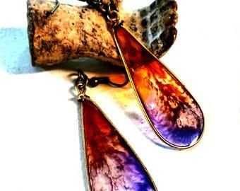 Alcohol Ink Earrings, Purple and orange earrings, dangle earrings, resin earrings