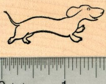 Dachshund Rubber Stamp, Dog D32617 Wood Mounted