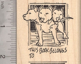 Cerberus Bookplate Rubber Stamp J9912 Wood Mounted