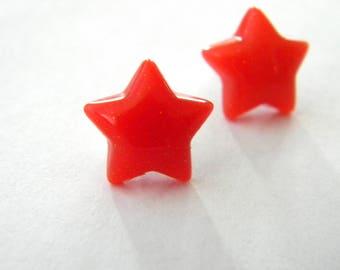 Red Star Post Earrings Stud Earrings 13mm