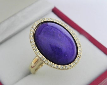 AAAAA Sugilite 18 x 13mm  7.88 Carats   14K Yellow gold Diamond halo cabochon ring. 1507