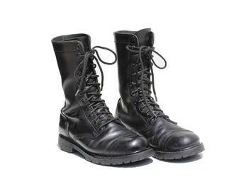 Vintage Men's Black Leather Combat Boots / size 9.5