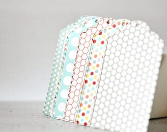 Large Mixed Tags {20} | White Pink Red Blue | Retro Tags | Scrap-booking | Journaling | Product Seller Tags | Merchandising Labels