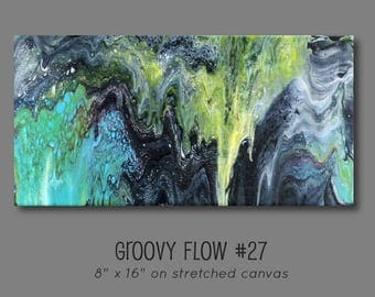 Groovy Abstract Acrylic Flow Painting #27 Ready to Hang 8x16
