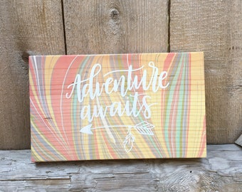 Adventure Awaits Sign / Marbled Wood / Boho Decor / Wooden Signs / Bohemian Home Decor / Hippie