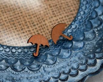 Umbrella Earrings, Wooden Umbrella Stud Earrings