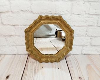 Vintage Small Gold Resin Octagon Mirror