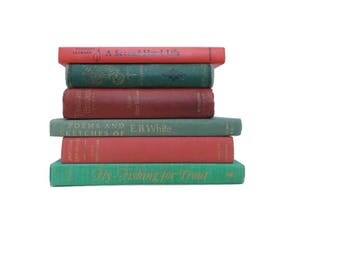 Christmas Book Stack, Red and Green Books, Instant Library, Home Decor, Decorative Books, Photo Prop, Home Staging, Distressed Old Books