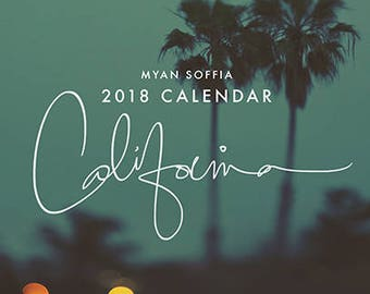 2018 calendar, California calendar, 2018 desk calendar, planner, stocking stuffer, holiday gift, travel gift, photography, under 25