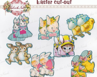 Vintage Easter cut-out designs, Easter die cuts, Easter Hang Tags, Easter cupcake toppers, Easter embellishments, Easter decorations