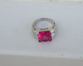 Pretty Sterling Silver 925 Pink & Clear Cubic Zirconia CZ Ring