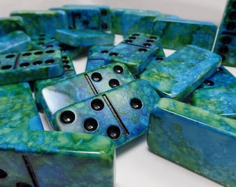 Dominoes 'Mother Earth'  Hand Painted 28 Piece Professional Size Domino Set in Lidded Wood Storage Box, alcohol inks, instructions earth day