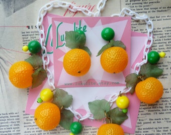 Juicy Jaffa Florida Oranges! 1940's inspired fruit salad necklace - vintage style handmade by Luxulite