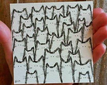 "Itty Bitty Kitty Committee - 4x4"" Miniature Cat Illustration - Cat Art - Cat Lovers - Mini Art"