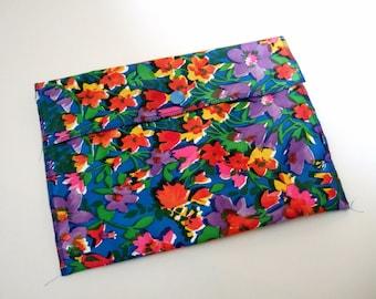 1960s Colourful Floral Make Up Bag or Cosmetics Purse - Vintage Wash Bag, Sponge Bag