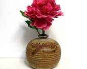 Stoneware WeedPot Vase/ 1970s Wheel Thrown Studio Pottery in Earthtones/ Artist Signed, Dated