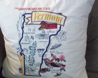 Embroidered State Map Pillow Vermont