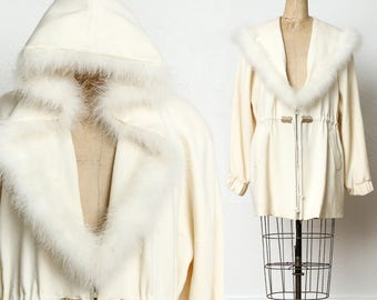 White Wool & Feather Hooded Jacket