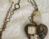 Altered Mixed Media Gypsy  Jewelry Altered Necklace Vintage Bird Necklace Vintage Mixed Media Vintage Gypsy Necklace Heart Pendant Statement