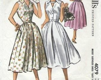 1950s McCall's 4079 Vintage Sewing Pattern Misses Shirtwaist Dress, One Piece Dress, Full Skirt Dress, Sleeveless Dress Size 14 Bust 34