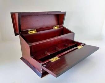 Wood Letter Box, 80s Bombay Company, Dresser Valet Jewelry Desk Organizer vintage man box 80s decor storage office desk