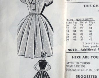 Misses' Shirtwaist Dress With Bow Collar, Vintage 50's Mail Order 8266 Sewing Pattern, Size 14, 34 Bust, Rockabilly 1950's Fashion