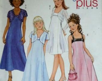 Butterick 4385 Sewing Pattern, Girls' Bolero Jacket And Dress, Formal, Flower Girl, Size 7-8-10--12-14, Uncut FF