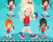 4th of July Clipart. Independence Day Little Girl Graphics, planner stickers, embroidery, commercial use, chore chart, african american