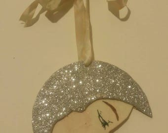 The Lady In The Silver Moon - Glitter Moon - Hanging Wall Decoration